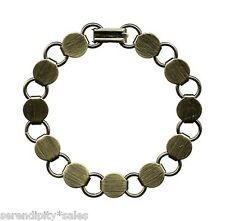 "3 Antique Brass BRACELET Blanks FORMS 11 round pads, 7.2"" long U-Add Cabs~beads"