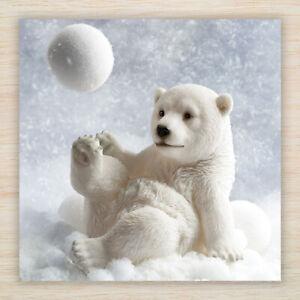 Cute Bear Christmas Cards & Packs - White Polar Bear & Snowball Freepost
