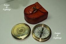 SOLID BRASS POCKET COMPASS VICTORIAN COMPASS 1875- WITH LEATHER CASE REPLICA