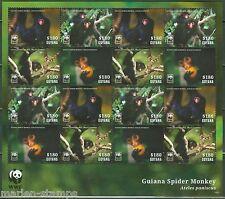 GUYANA 2014  WORLD WILDLIFE FUND GUIANA SPIDER MONKEY  SHEET OF 16  MINT NH