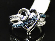 Ladies White Gold Finish Pave Heart Blue Diamond Engagement Fashion Promise Ring