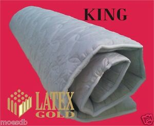 LATEX FOAM MATTRESS OVERLAY 5CM - KING- TOPPER + STRAPS - RRP $599 - Quilted