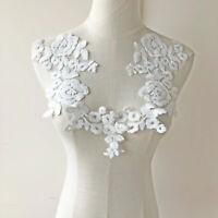 Off-White Cotton lace Applique Trim Wedding Motif Bridal lace applique Flower