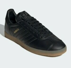 Adidas GAZELLE Leather Trainers BLACK w/ Gum Sole Authentic Size UK 7  BRAND NEW