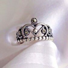 925 STERLING SILVER 5 MARCASITE CROWN RING SIZE 7