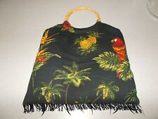 Black beautiful Tropical Theme Womens handbag tote carry purse bamboo rings used