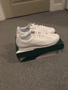 Mens Puma Roma Basic Trainers. White. UK Size 11