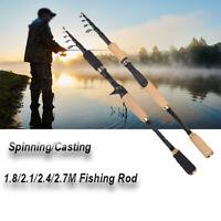 Ultralight Spinning Rod Telescopic Angling Fishing Pole Super Hard Carbon Fiber*