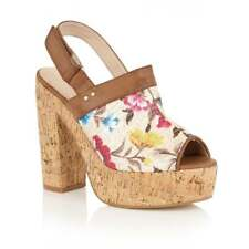 DOLCIS VIENNESE CHEAP SUMMER HOLIDAY FLORAL DETAIL CORK HEELED SANDAL BEIGE UK 8