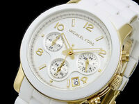NEW MICHAEL KORS WHITE GOLD CHRONOGRAPH BRACELET LADIES WATCH MK5145