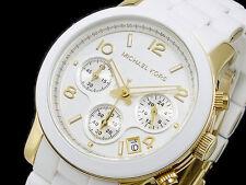 NEU Michael Kors weiß gold Chronograph Armband Damenuhr mk5145