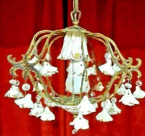 Vintage Petite Brass Spanish Cage Chandelier Capodimonte ITALIAN Porcelain Roses