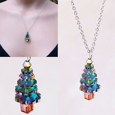 Chic Colors Crystal Christmas Tree Pendant Necklace Girls Xmas Special Jewelry
