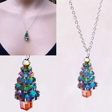 Delicate Colors Crystal Christmas Tree Pendant Necklace Xmas Jewelry santa love