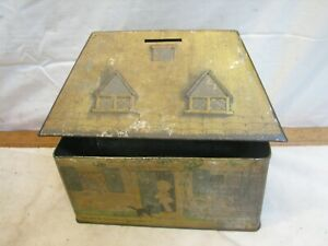 Vintage Lucie Attwell Kiddibics Tin England Candy Biscuit Bank Bicky House