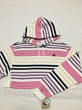 NEW Womens Champion Reverse Weave Striped Cropped Hoodie Hooded Sweatshirt Small
