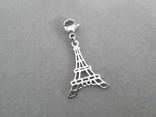 """Charm / Pendant Eiffel Tower 1 3/8 """" Stainless Steel 316-L w/ Lobster Claw Clasp"""