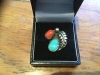 Vintage Pewter Hand Made Ring Orange And Turquoise Stones Size I