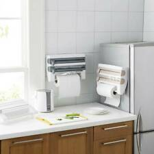 4-in-1 Kitchen Roll Dispenser Cling Film Foil Towel Holder Rack Wall Mounted Set