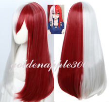 "26""65cm My Hero Academia Todoroki Silver White Mixed Red Long Cosplay Wig"