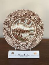 Johnson Bros HISTORIC AMERICA Brown Multicolor Dinner Plate View of Boston