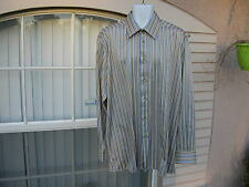 Men's Gianni Viera XL 100% Silk Shirt Long Sleeve Striped Italy