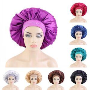 Big Size Satin Hot Drilling Night Sleep Caps Women Elastic Band Hair Care Bonnet