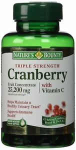 Natures Bounty Triple Strength Cranberry 25,200mg AND Vitamin C Softgels - 60 Ea