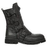 NEWROCK New Rock M.373X-S24 Unisex Black Cow Leather Boots Punk Heavy Military