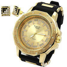 Mens Gold Hip Hop Fashion Silicone Quartz Wrist Watch & Earrings 2pcs set