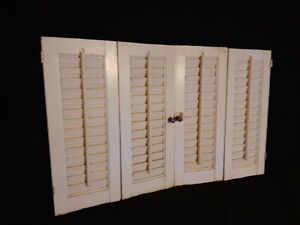 """VTG Interior Louvered Wooden Window Shutters Bi-Fold Colonial White 28""""X17.5"""""""