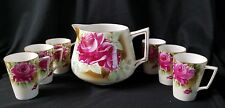 Antique Hand Painted Nippon China Lemonade Set Pitcher w/ 6 mugs Rose gilded