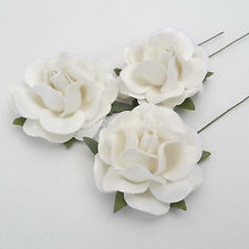 10 White Paper Flowers Wedding Party Headpiece Card Scrapbooking Crafts ZR77-15