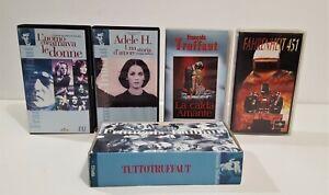 FRANCOIS TRUFFAUT - 4 FILM IN VHS + COFANETTO CON LIBRETTI FIMOGRAFIA TRUFFAUT