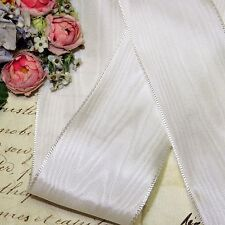 "1y Vtg 1.5"" French Moire White Taffeta Rayon Petersham Grosgrain Ribbon Hat Trim"