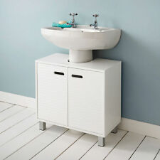 Modern Under Sink Basin Storage Unit in White Wood Bathroom Furniture Cabinet
