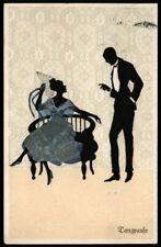 Fasto-Silhouetten * Scherenschnitt TANZPAUSE * Künstlerkarte MARTE GRAF, 1920
