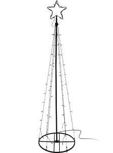 Kegel mit Stern - Weihnachtsbeleuchtung Warmeiß 90 LED IP44 innen + außen 180 cm