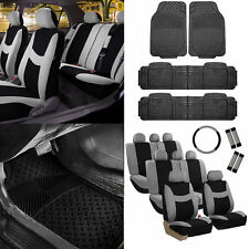 3 Row 8 Seater Gray Seat Covers Set w/ Steering / Belt Cover / Black Floor Mats