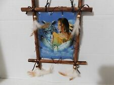 """FRAMED INDIAN PICTURE W/INDAIN MADIEN & OWLS """"BACK TO EARTH COLLECTION 11"""" X 9"""""""