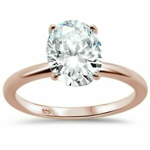 OVAL 1.5ct solitare Rose Gold Plate  925 Sterling Silver Engagement Promise rng