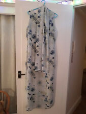 Ladies Dress and Scarf by Ann Reeves- Long Blue Aqua Floral Flowers - Size 16