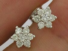 E057 Genuine 9ct White Gold 0.40ct NATURAL Diamond Cluster Stud Earrings Blossom