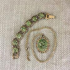 Vintage Pendant Necklace Bracelet Set Green Jade Gemstone Chip Filigree Vtg
