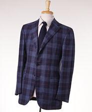 NWT $5600 CESARE ATTOLINI Navy Blue Check Wool-Silk-Linen Sport Coat 42 R (Eu52)