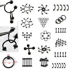 16 Piece BLACK Stainless Steel Barbell Belly Lip Nipple Body Piercing Jewellery