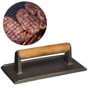 Cast Iron Steak Press Bacon Weight BBQ Hamburger Grills Meat Presser Skillet