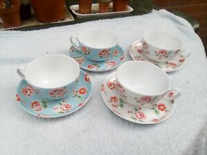 CATH KIDSTON 4 X CUPS AND SAUCERS PROVENCE ROSE  PATTERN RARER PATTEREND SAUCERS