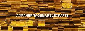 Yellow Tiger Eye Marble Dining Top Table Inlay Precious Arts Decorative  H5598