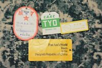 lot of 4 1950s luggage tags CHINA CAAC/Pan Am World Tours